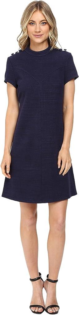 Knit High Neck Dress w/ Button