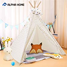 """ALPHA HOME Teepee Tent for Kids Canvas Childs Play Teepee Tent Indoor & Outdoor with Carry Bag - 58"""" x 58"""" x 56"""""""