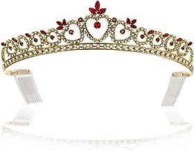 SAMKY Hearts Design Rhinestone Crystal Tiara Crown - Gold Plated Red Crystals T417