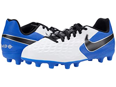 Nike Kids Jr Legend 8 Club FG/MG Soccer (Toddler/Little Kid/Big Kid) (White/Black/Hyper Royal/Metallic Silver) Kids Shoes