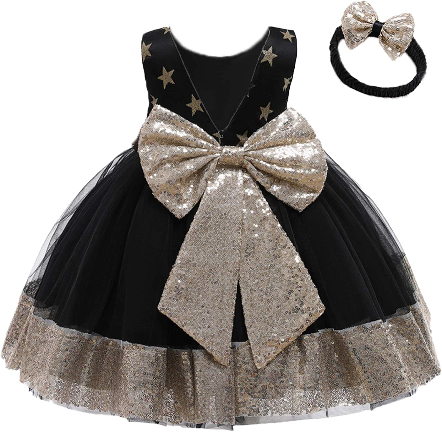 12M-6T Challenge the lowest price Baby Dress Sequins Bowknot Girl Pagea 2021 model Flower Lace Dresses