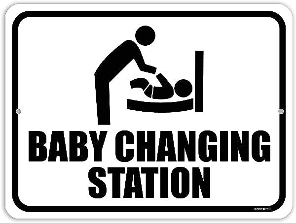蜜露礼品洗手间标志婴儿换衣站 9 英寸乘 12 英寸金属铝婴儿换衣站标志美国制造