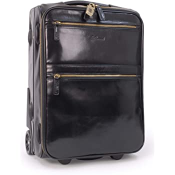 Ashwood Genuine Leather Cabin Trolley Bag Business Overnight Weekend Travel Flight Telescopic Handle Black