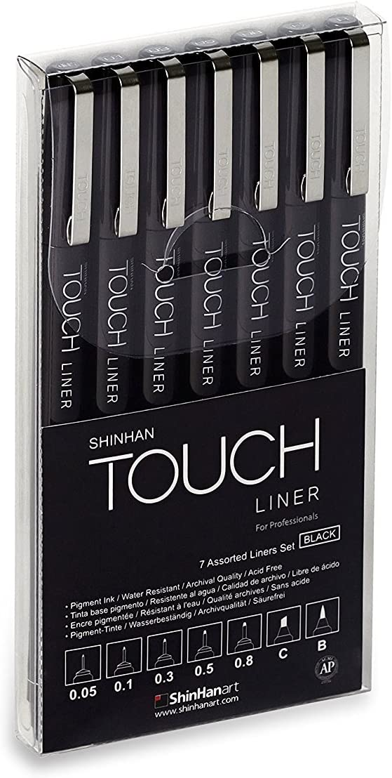 Shinhan Touch Liner drawing pens - Set of 7 Black pen with pen pouch case