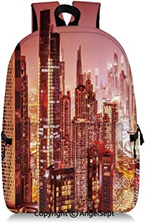 Everyday Backpack Dubai at Night Cityscape with Tall Skyscrapers Panorama