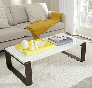 Safavieh Home Collection Bartholomew Mid-Century Modern White and Dark Brown Coffee Table