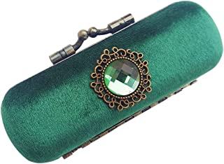 The perseids Vintage Lipstick Case with Mirror, Handmade Velvet Luxurious Jewelry Storage Holder Box Cosmetic Case (Blue Green)