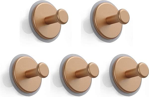 SDH Bathroom Hooks Adhesive Removable Heavy Duty Modern Garment Friendly Matt Gold Color Pack In 5 Hooks