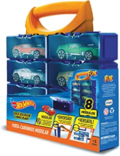 Porta Carrinhos Modular com 8 Hot Wheels Azul