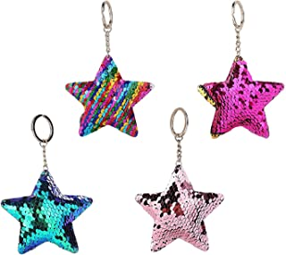 ISKYBOB Set of 4 Star Shaped Glitter Sequins Charm Keychain Bag Hanging Decoration Key Ring