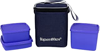 Signoraware Director Special Medium Lunch Box with Bag, Violet