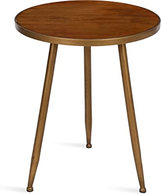 Kate And Laurel Clegg Midcentury Modern 3 Legged Round Wood And Metal Side Table Walnut Brown Finished Top With Burnished Gold Trim And Legs Furniture Decor