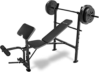 Competitor Marcy Workout Bench with 80 lbs Weight Set Combo (Black) - CB-20110