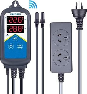 Inkbird WiFi Temperature Controller 306A 1200W Aquarium Dual Relays Dual Waterpoof Probes Thermometer for Fish Tank MarineSaltwater Terrarium