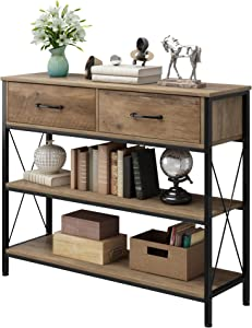 Console Table with Drawers, Rustic Hallway Table with Storage Shelves, Narrow Long Sofa Entryway Table for Living Room, Metal Frame, Rustic Brown