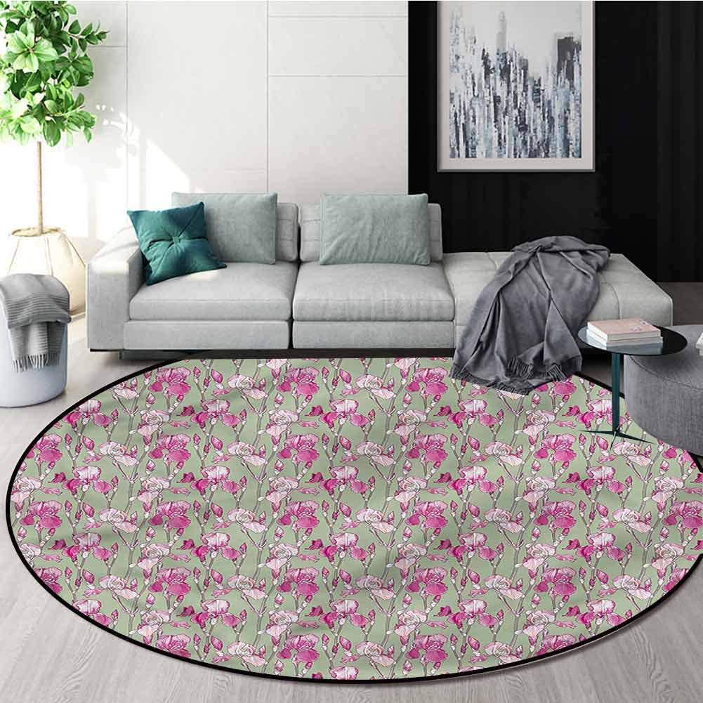 RUGSMAT - Alfombras Redondas jardín, diseño romántico de astas Rosas, Tela Antideslizante, alfombras Redondas para Alfombra de Piso: Amazon.es: Hogar