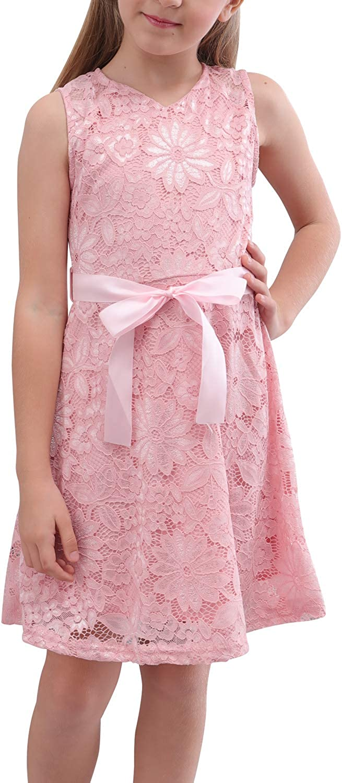 60s 70s Kids Costumes & Clothing Girls & Boys GORLYA Girls Sleeveless V Neck Elegant Retro Floral Lace Flower Girl Party Belt Dress for 4-14T  AT vintagedancer.com