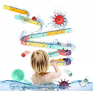Sponsored Ad - ELOT Bath Toys Slide Splash Water Ball Track Stick to Wall Bathtub for Toddlers DIY Waterfall Pipe and Tube...