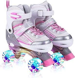 کوسوئای سایه اسکیت های غلتکی قابل تنظیم برای کودکان و نوجوانان، با تمام چرخ ها روشن، سرگرم کننده در حال روشن شدن برای دختران و خانم ها