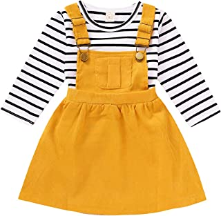 HAPPYMA Toddler Baby Girl Dress Set Striped Long Sleeve Tops + Strap Corduroy Pocket Suspender Skirt Outfits