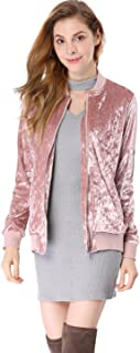 Women's Stand Collar Long Sleeve Velvet Bomber Classic Jacket