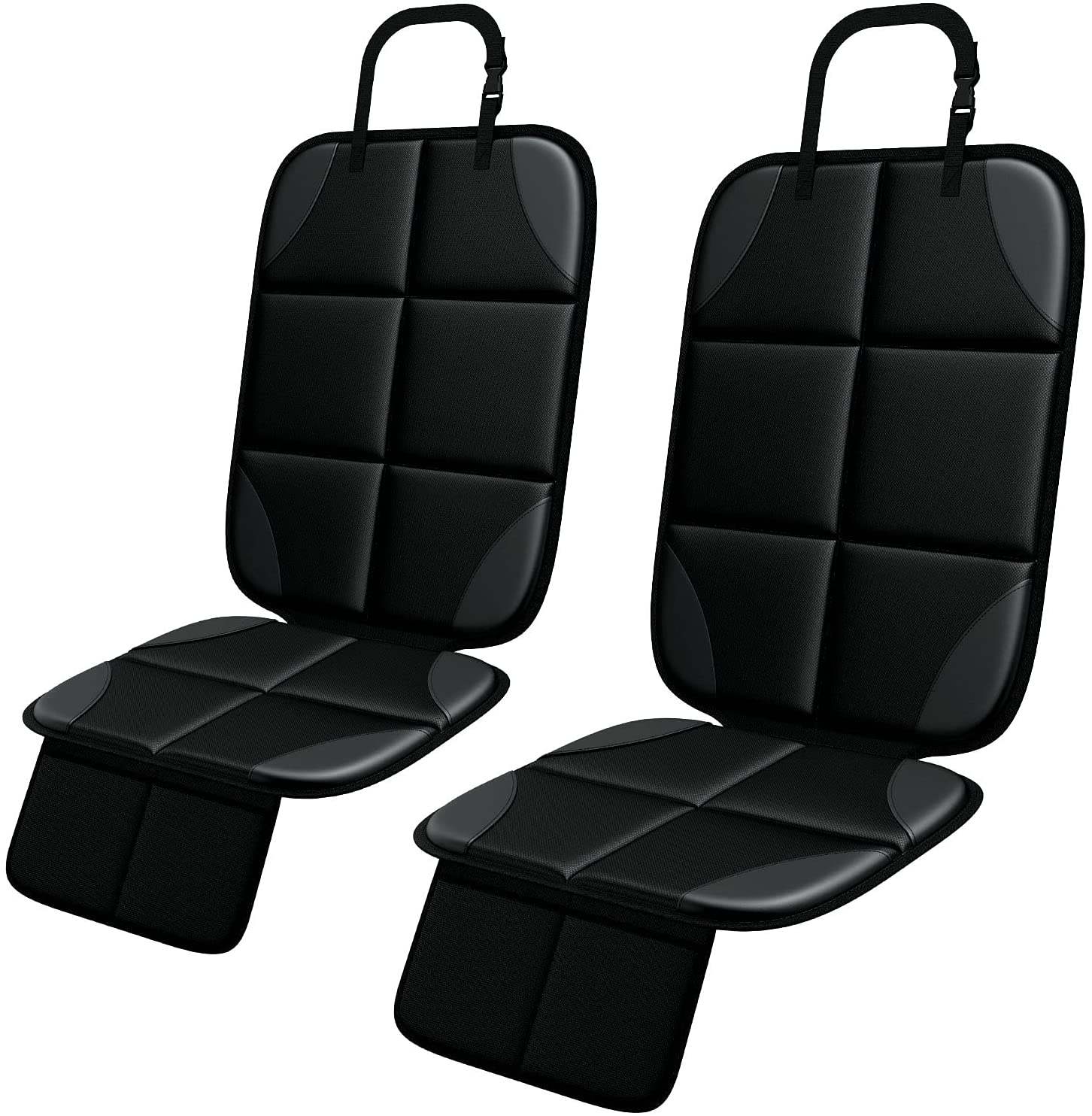 Car Seat Protector, MHO+All 2 Pack Auto Car Seat Protectors for Child Baby Car Seats - Large CarSeat Sit Savers Mat with Waterproof 600D Fabric & 2 Storage Pockets, Crash Test Approved