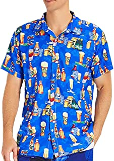 2ba64c797b0f iLXHD T-Shirt Men s Summer Beer Printin Hawaiian Style Short-Sleeved Shirts  Casual Button