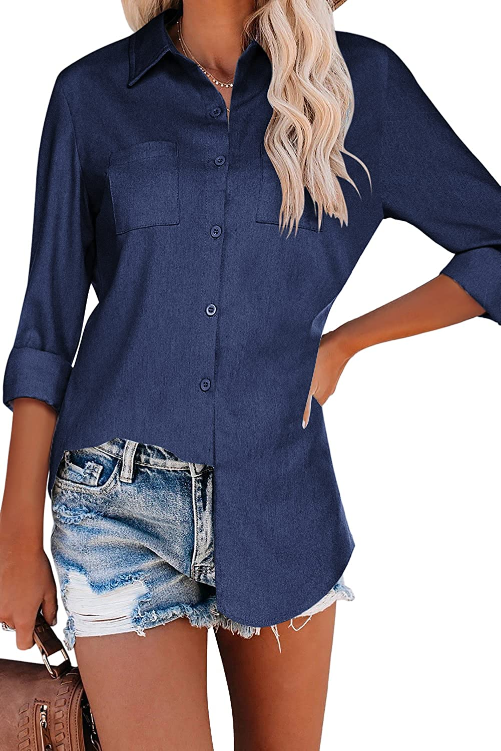 Hotouch Women Chambray Shirt Long Sleeve Button Up Long Jeans Shirt Denim Collared Blouse with Pockets