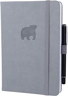 SEQES Dotted Hardcover Notebook-PU Leather, A5 (5.7 x 8.2) Thick Paper 160gsm Dot Grid Notebook with Pen Loop, Pocket, Elastic Closure Writing Sketching Journal, Grey Embossed Bear