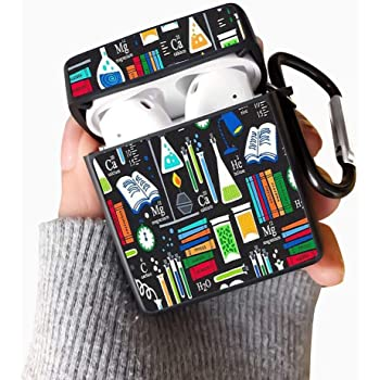 Science Club Luxury Fashion Cute Cover 360/°Protective Airpods Accessories Kits Shockproof Wireless Headphone Case with Keychain AirPods Case Protective