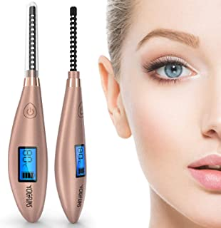 Heated Eyelash Curler, YCIGFUNS Ceramic Electric Eyelash Curler, USB Rechargeable Eyelash Curler with LCD Display for Eyelashes Quick Natural Curling and 24 Hours Long Lasting (2019 NEW Version)