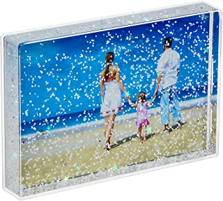NIUBEE 4x6 Glitter Liquid Photo Frame for Gifts, Clear Plastic Acrylic Floating Sparkle Water Picture Frame(Snow)