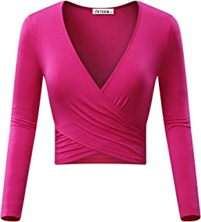 Women's Deep V Neck Long Sleeve Unique Slim Fit Cross Wrap Shirts Crop Tops