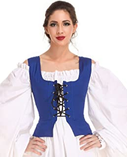 Medieval Wench Pirate Renaissance Cosplay Costume Reversible Peasant Bodice