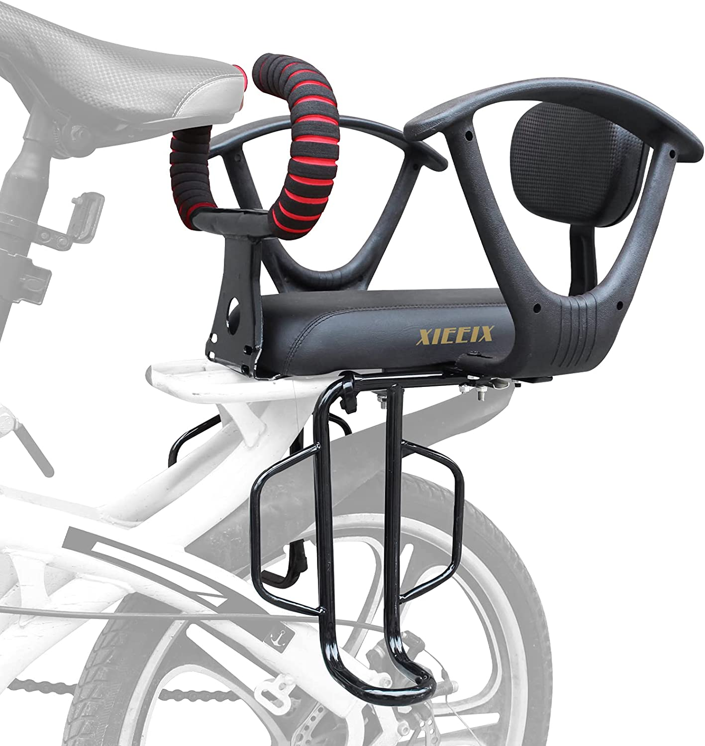 XIEEIX Child Rear Child Bike Seat, Back Mounted Kids Carrier Bicycle Seat Including Footrest, Thicken Armrest,Cushion and Backrest Adjustable and Detachable Bike Seat