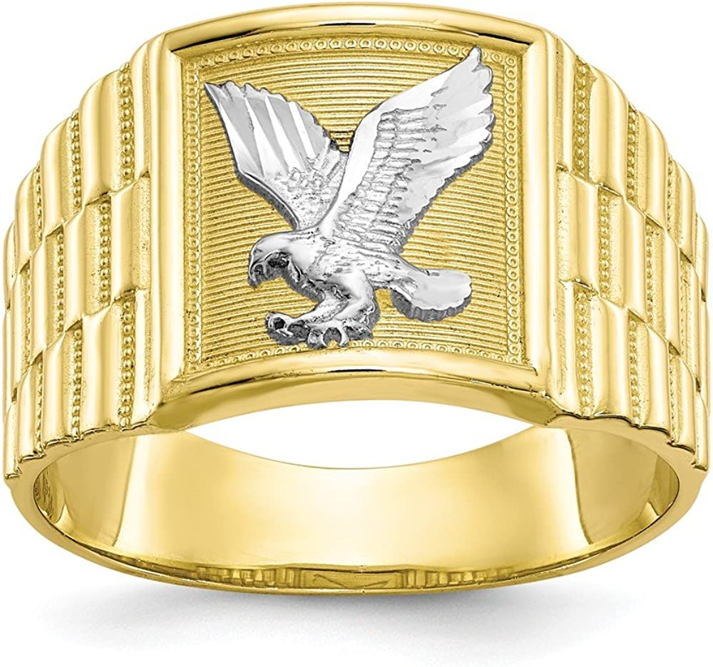 Solid 10k Louisville-Jefferson County Mall Yellow Gold Two Ring Eagle Selling rankings Men's Band Toned