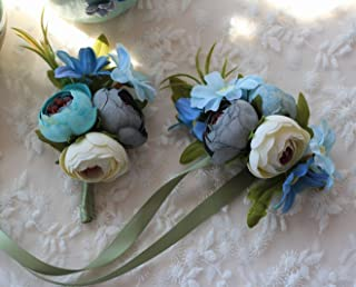 Flonding Wedding Wrist Corsage and Brooch Boutonniere Set Party Prom Hand Flower Suit Decor (Blue)