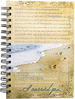 Christian Art Gifts Large Hardcover Notebook/Journal   Footprints In The Sand Poem   Beach Inspirational Wire Bound Spiral...