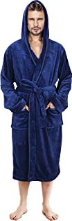 Mens Hooded Robe - Plush Long Bathrobes for Men