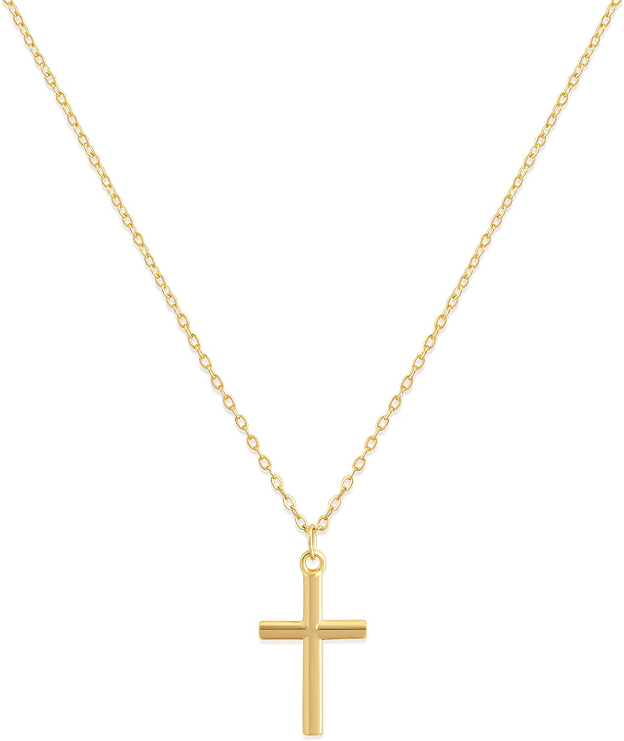 Valloey Rover Cross Pendant Chain Necklace,14K Gold Plated Dainty Cute Lucky Cross Tiny Pendant Necklaces for Women Men Jewelry Gifts