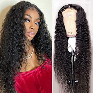 Water Wave 4x4 Lace Front Wigs Human Hair Pre Plucked, 150% Density Brazilian Virgin Wet and Wavy Human Hair Wigs for Blac...