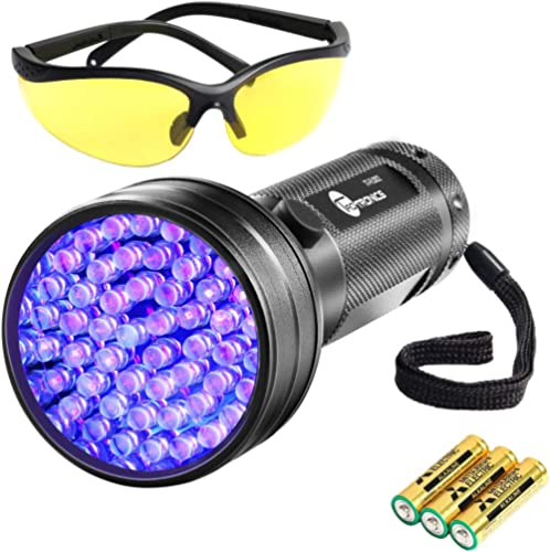 TaoTronics Black Light, 51 LEDs UV Blacklight Flashlights, Free UV Sunglasses and 3 Batteries Included, Detector for ...