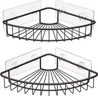 SMARTAKE 2-Pack Corner Shower Caddy, SUS304 Stainless Steel, Wall Mounted Bathroom Shelf with Adhesive, Storage Organizer for Toilet, Dorm and Kitchen (Bronze)