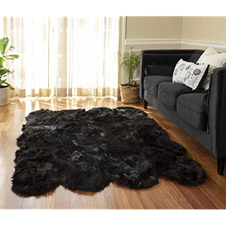 Amazon Com Silky Super Soft Black Faux Sheepskin Shag Rug Faux Fur Machine Washable Great For Photography Or Decor Get The Real Look Without Harming Animals Octo Pelt 5 Feet X 7