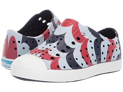 Native Kids Shoes Jefferson Stars and Stripes Print (Toddler/Little Kid) (Regatta Blue/Shell White/Arches) Kid