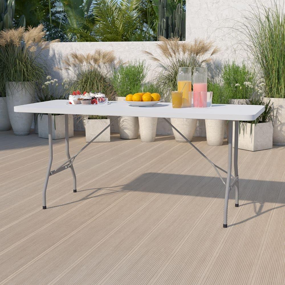 Flash Furniture 6-Foot Granite Max 48% OFF Plastic Folding Table White Las Vegas Mall
