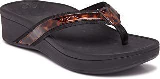 Women's Pacific High Tide Toepost Sandals – Ladies Platform Flip Flops with Orthotic Arch Support Black Tortoise 12 US