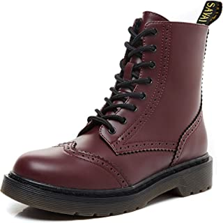 Women's Round Toe Combat Ankle Boots