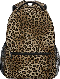 374784e3785e ZZKKO Leopard Print Vintage Backpacks College School Book Bag Travel Hiking  Camping Daypack
