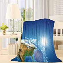 Earth Home Kids Soft Blanket,United States View in Space Rising Sun Over The Earth and Its Landforms Decorative for Kid,59''L X 79''W